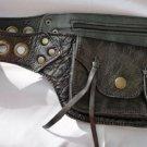 Travel Money Hipster Black Calf Leather Ladies Belt Pouch S-L