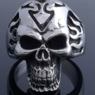 STAINLESS STEEL SKULL SYMBOL FLAME CHOPP ER RING US SZ 10 NEW