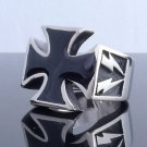 HUGE STAINLESS STEEL MALTESE CROSS LIGHTNING CHOPPER RING US SZ 10