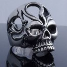 STAINLESS STEEL CRACKED TRIBAL SKULL BIKER RING US SZ 8.5