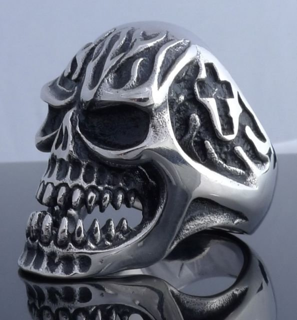 BIG HEAVY STAINLESS STEEL SKULL GOTHIC CROSS FLAME ROCKER BIKER RING US SZ 11