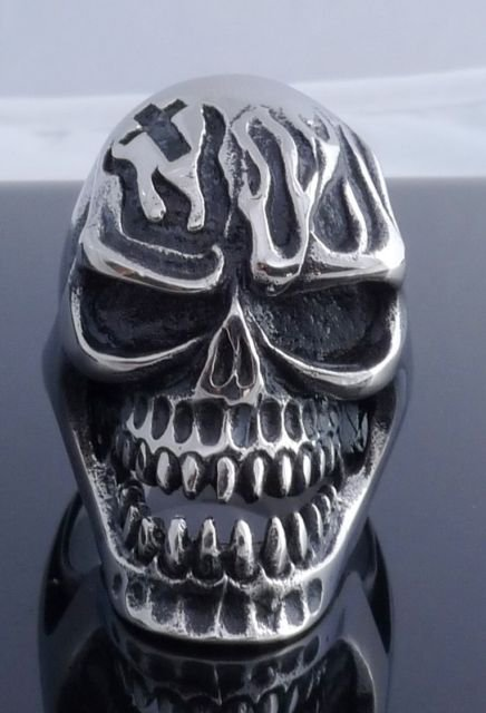 AMAZINHEAVY STAINLESS STEEL SKULL GOTHIC CROSS FLAME ROCKSTAR RING US SZ 7