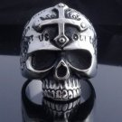 AMAZING STAINLESS STEEL SKULL JAW GOTHIC CROSS ROCKSTAR RING US SZ 10