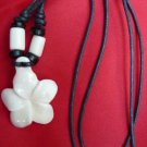 CARVED BUFFALO FLOWER NECKLACE WITH STRING ADJUSTABLE