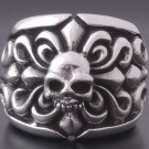 925 Sterling Silver Floral Skull Solid Heavy Biker Chopper Ring US sz 12