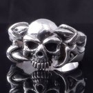 925 SILVER SKULL ROCKSTAR CLAW HEART CHOPPER RING US sz 10.5