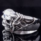 925 STERLING SILVER HEART SKULL CLAW LOWRIDER RING US sz 13
