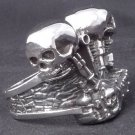 925 STERLING SILVER SKULL DOUBLE PISTON ENGINE CHOPPER KING RING US sz 11