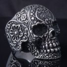 STAINLESS STEEL AMAZING TRIBAL FLOWER SKULL CHOPPER ROCK STAR RING US SZ 10