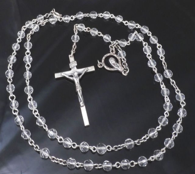 "925 Sterling Silver Crucifix Gothic Cross Glass Beads Rosary 52cm  / 20"" NEW"