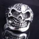 STAINLESS STEEL AMAZING SKULL PIPE CHOPPER ROCKSTAR RING US SZ 8