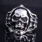 STAINLESS STEEL AMAZING SKULL FLAME CHOPPER ROCK STAR RING US SZ 10