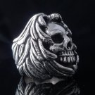 925 STERLING SILVER ENCRUSTED SKULL MOTORCYCLE BIKER RING US sz 8