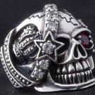 925 STERLING SILVER PIRATE SKULL STAR GEMSTONE ROCKSTAR BIKER KING RING US sz 12