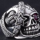 925 STERLING SILVER PIRATE SKULL STAR GEMSTONE ROCKSTAR BIKER KING RING US sz 11