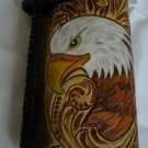 BIFOLD CARVED TRIBAL EAGLE HEAD FLOWER CALF LEATHER WALLET