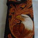 BIFOLD CARVED TRIBAL EAGLE FLOWER BLACK CALF LEATHER WALLET