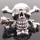 925 STERLING SILVER SKULL BONE ROSE LIVE TO RIDE CHOPPER PENDANT