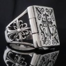 925 STERLING SILVER AMAZING GOTHIC CROSS BOOK BIKER KING RING US sz 10.25