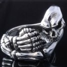 925 STERLING SILVER SKELETON SKULL LIVE TO RIDE CHOPPER RING US sz 9 NEW