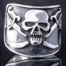 925 STERLING SILVER SKULL BONE DAGGER LIVE TO RIDE CHOPPER RING US sz 10.5