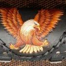 CARVED EAGLE CLAW PYTHON SKIN CHOPPER RIDER BIKER FRONT BAR LEATHER TOOL KIT BAG
