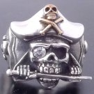 925 SILVER MACHETE PIRATE SKULL GEM EYE CHOPPER RING US sz 7 to 15