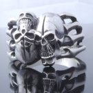 925 SILVER TWISTED SKULL MOTORCYCLE RIDER BIKER RING US SZ 7 TO 15