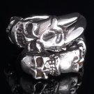STERLING 925 SILVER SKULL CLAW BIKER KING CHOPPER RING US sz 7 to15
