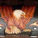 CARVED LEATHER TOOL BAG LANDING EAGLE CLAW FLAMES CHOPPER RIDER BIKER FRONT BAR