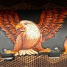 CARVED EAGLE WINGS FLAMES CHOPPER RIDER BIKER FRONT BAR LEATHER TOOL KIT BAG