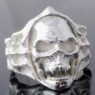 Skull Bone Biker Chopper Plated Silver Ring US sz 11.75