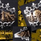 925 Sterling Silver Chopper CROWN BIKER SKULL BAT WING RING US sz 10.5