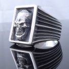 SKULL 925 STERLING SILVER LIVE TO RIDE CHOPPER RING US SZ 7 TO 15