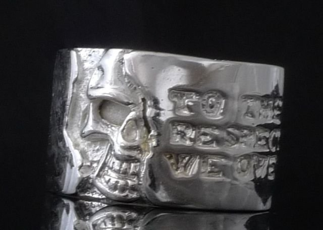 925 SILVER PLATED BIKER HALF SKULL CHOPPER KING OUTLAW RING US sz 11.25