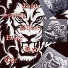 TIGER SABER TOOTH 925 STERLING SILVER RED GEM EYE MOTORBIKE RIDER RING US sz 10