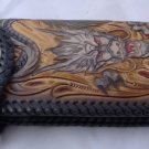 BIFOLD CARVED TRIBAL FLOWER DRAGON HEAD BROWN CALF LEATHER WALLET