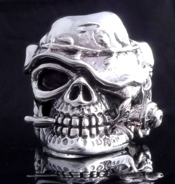925 Sterling Silver Skull Hat Flowr Chopper Live To Ride Ring US sz 5-15