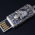 SOLID STERLING 925 SILVER SKULL HP 8GB USB FLASHDRIVE PENDANT PEN STICK