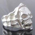 Skull Bone Biker Chopper Plated Silver Ring US sz 10.25