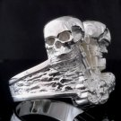 925 SILVER PLATED BIKER SKULL PISTON CHOPPER KING RING US sz 12.25