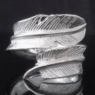 Custom Unisex Plated 925 Sterling Silver Feather Motorcycle Biker Ring US sz 10
