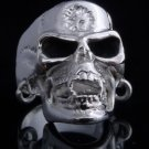 925 Sterling Silver Plated Pierced Skull Jaw Motorcycle Biker Ring US sz 10.5