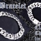 925 SILVER FANCY SMOOTH CHAIN MOTORCYCLE RIDER BIKER CHOPPER KING BRACELET 8.5""