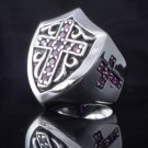 925 SILVER TEMPLAR KNIGHT GOTHIC CROSS TRIBAL SHIELD BIKER RING US sz 10,11,12