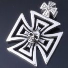 925 SILVER SOLID HEAVY MALTESE IRON CROSS SKULL OUTLAW BIKER PENDANT
