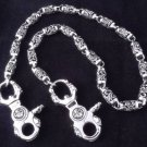 925 Sterling Silver Skull Clasp Tribal Barrel Biker Chopper King Walletchain 26""