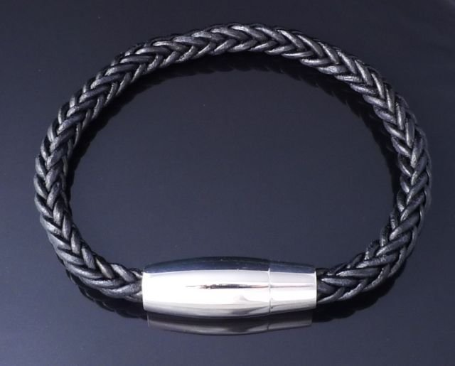 Cowhide Leather Bracelet, Magnetic Stainless Steel Clasp, Soft Leather