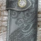 BIFOLD CARVED DRAGON BIKE RIDER CALF LEATHER WALLET SILVER BRASS SKULL CONCHO