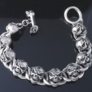 925 STERLING SILVER FATTY SKULL T-BAR HEAVY MOTORCYCLE BRACELET 8.25""